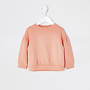 Sweat corail brodé Mini fille