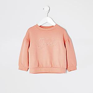 Mini - Koraalrode geborduurde sweater voor meisjes