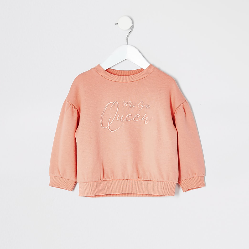 Mini girls coral embroidered sweatshirt