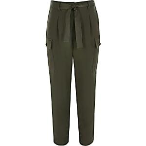 Kaki utility broek met ceintuur voor meisjes