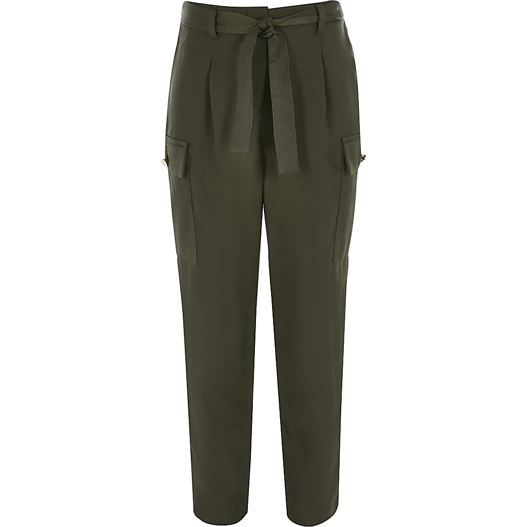 Girls khaki utility tie belted trousers