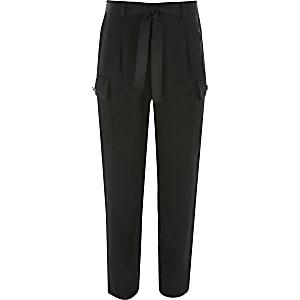 Pantalons utilitaires noirs avec ceinture pour fille