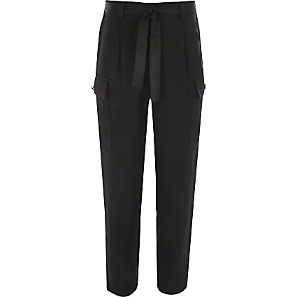 Girls black utility tie belted trousers