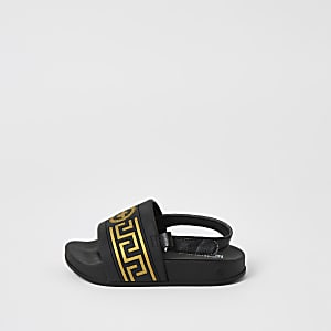 Mini -Zwarte slippers met wespenprint in reliëf voor jongens