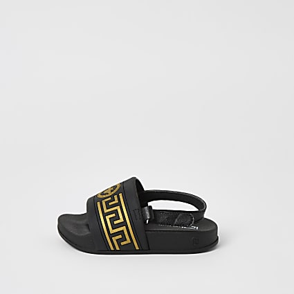 Mini boys black wasp embossed sliders