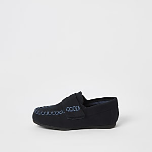 Mini - Marineblauwe suèdine loafers met klittebandsluiting voor jongens