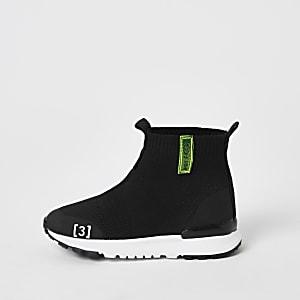 Mini - Zwarte gebreide hoge sneakersvoor jongens