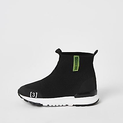 Mini boys black knitted high top trainers