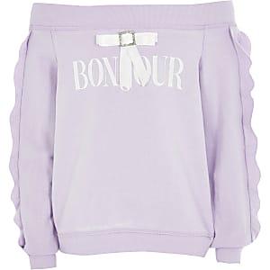 Paarse bardot-sweater met 'bonjour'-tekst en strik voor meisjes