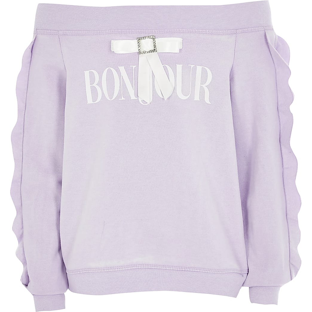 Girls purple bardot 'bonjour' bow sweatshirt