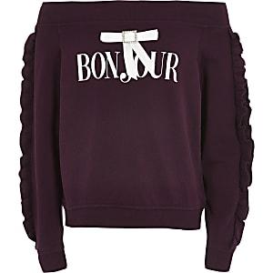 """Bardot-Sweatshirt """"Bonjour"""" in Lila"""