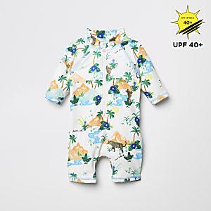 Cremefarbener, einteiliger Badeanzug mit Dschungelprint für Babys