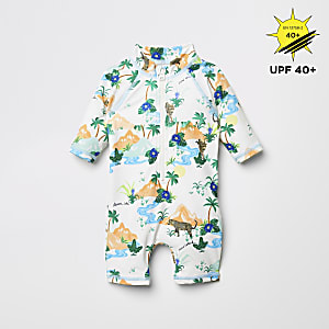 Crèmekleurig alles-in-een zwempak met jungleprint en zonbescherming voor baby's