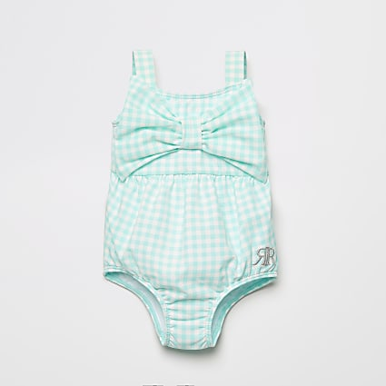 Baby green gingham bow front swimsuit