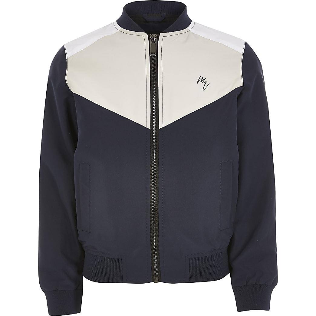 Boys blue colour blocked bomber jacket