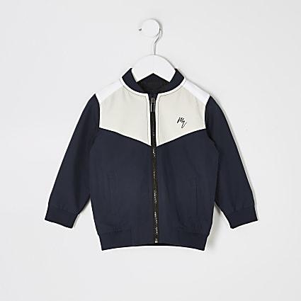 Mini boys blue colour blocked bomber jacket
