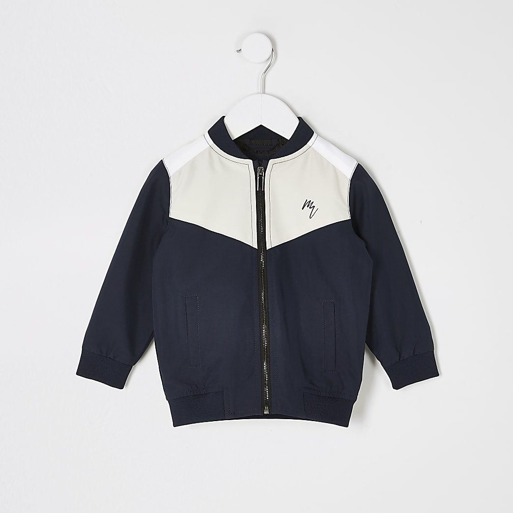 Mini boys blue colour blocked bomber jacket