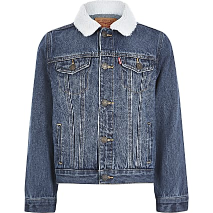 Boys Levi's blue borg collar denim jacket