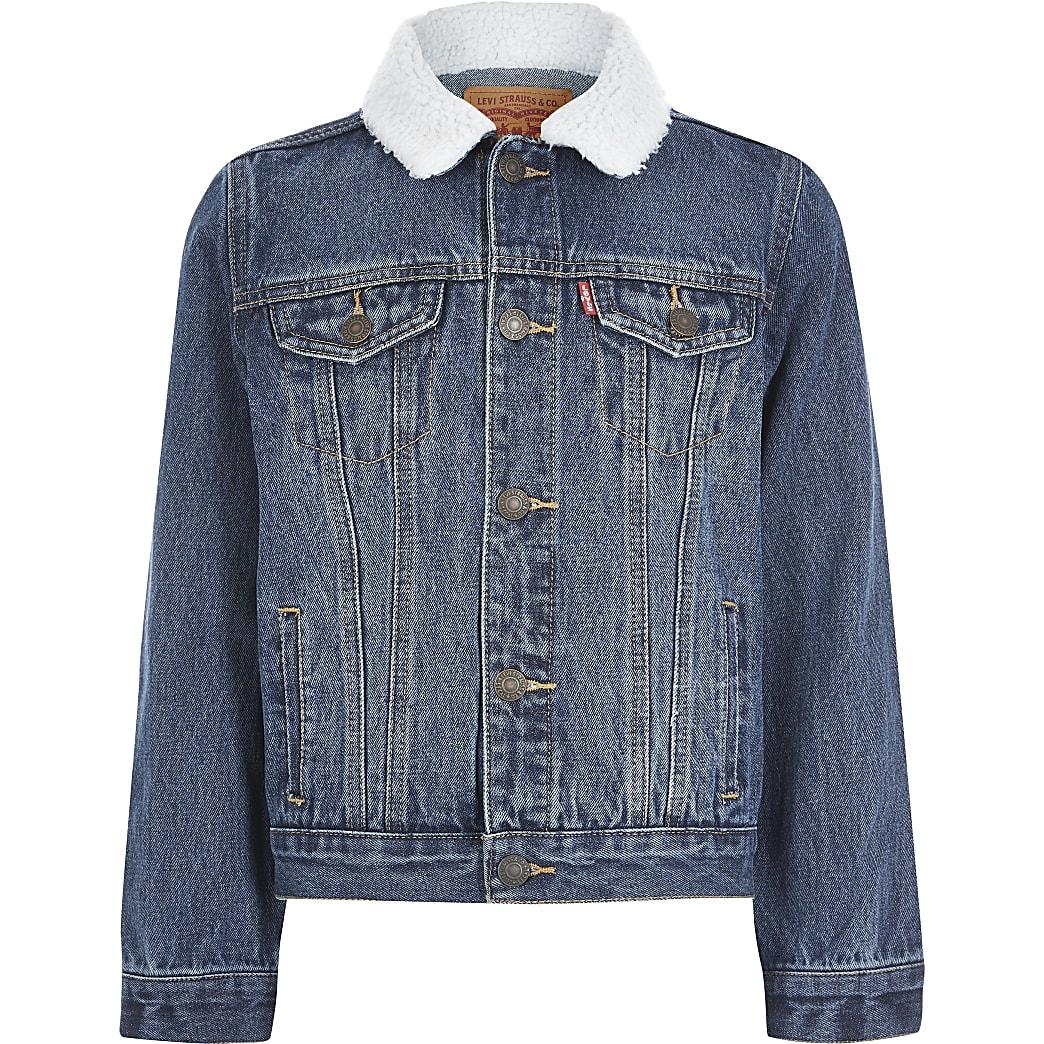 Levi's – Blaue Jeansjacke mit Borg-Kragen für Jungen