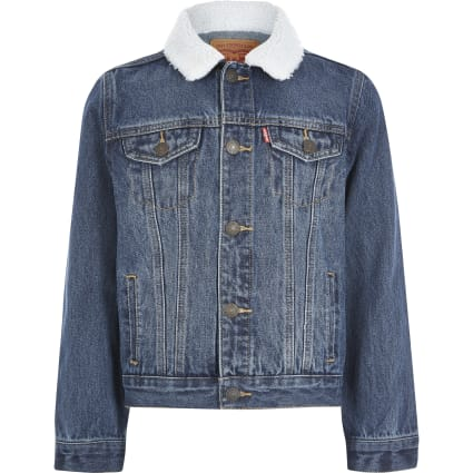 Boys Levi's blue borg collar denim jacket