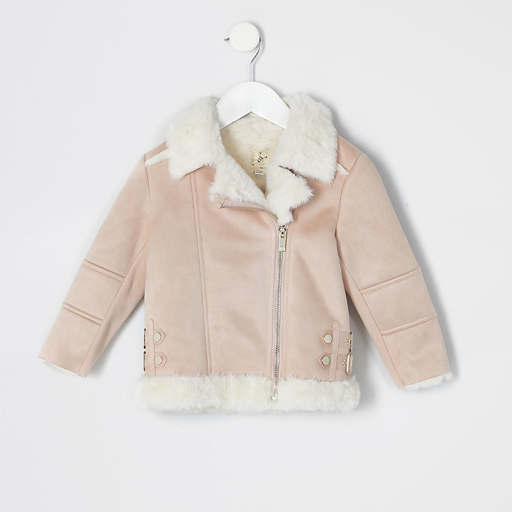 Mini girls pink suedette aviator jacket