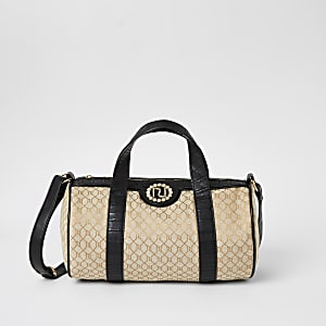 Bruine tas met RI-monogram voor meisjes