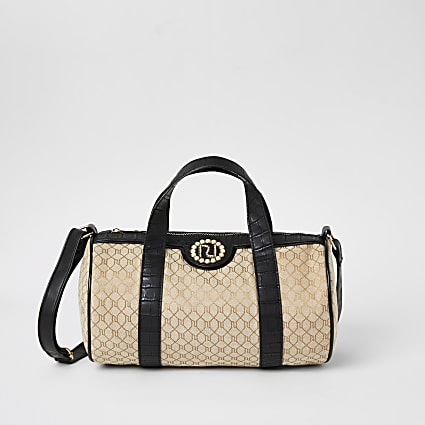 Girls brown RI monogram holdall bag