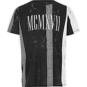 Zwart marmer gestreept T-shirt met print voor jongens
