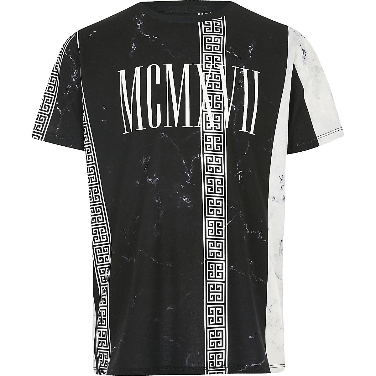 Boys black marble stripe printed T-shirt