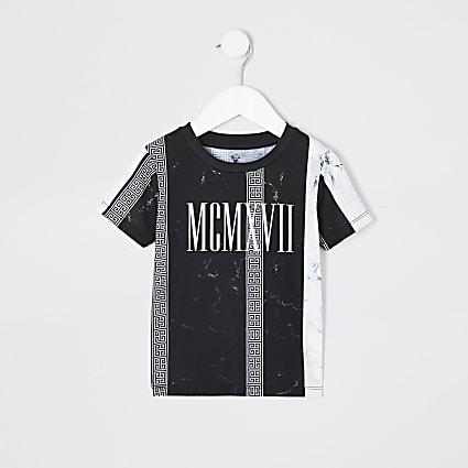 Mini boys black marble stripe print T-shirt
