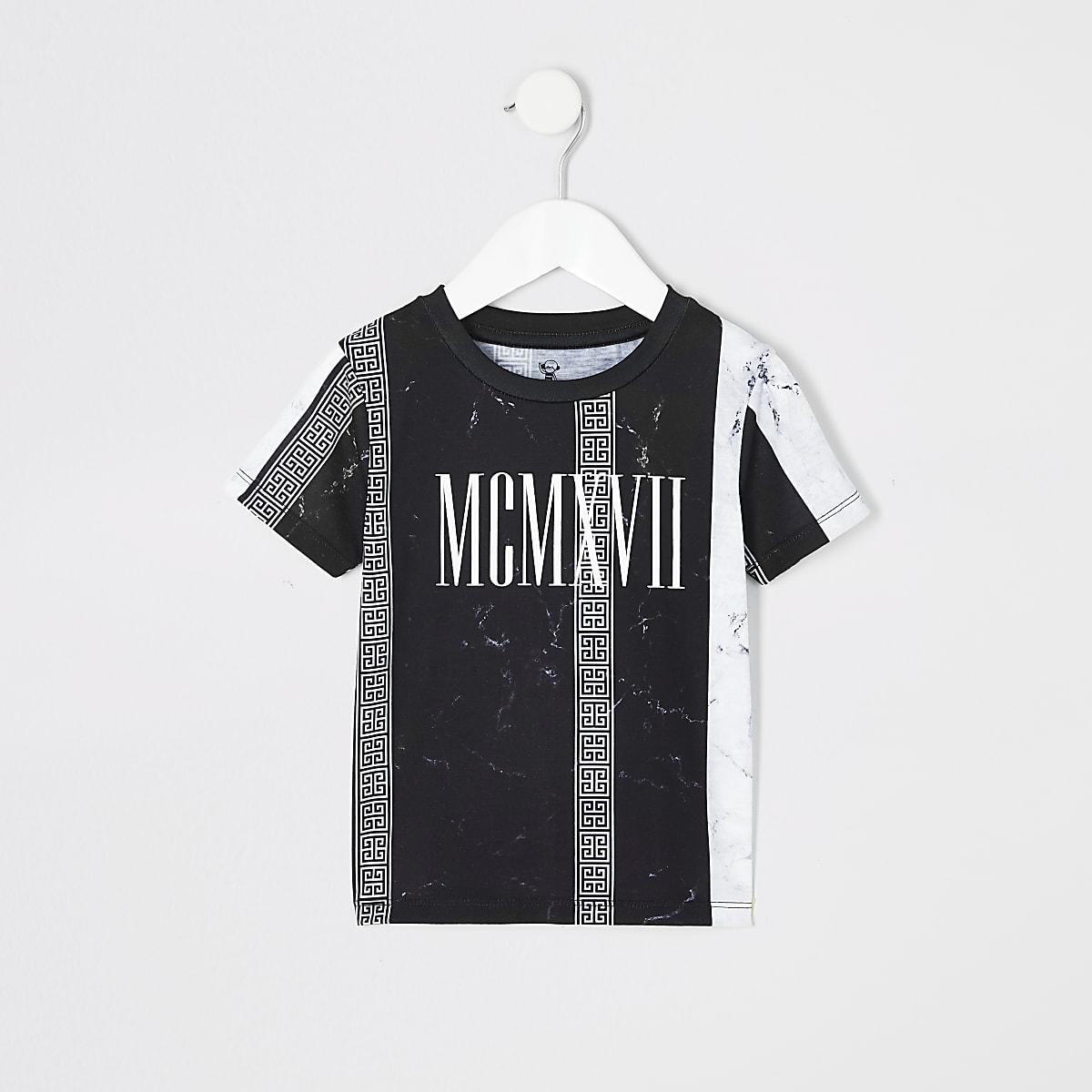 Mini boys black marble stripe print T-shirt