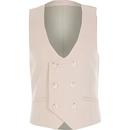 Boys pink double breasted waistcoat