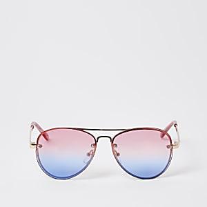Roze pilotenzonnebril met randloos montuur voor meisjes