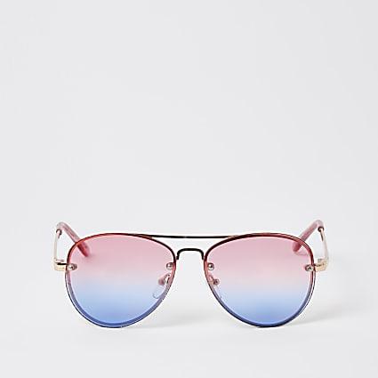 Girls pink rimless aviator sunglasses
