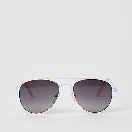Girls pink rainbow aviator sunglasses