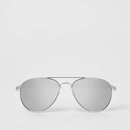 Girls silver mirrored aviator sunglasses
