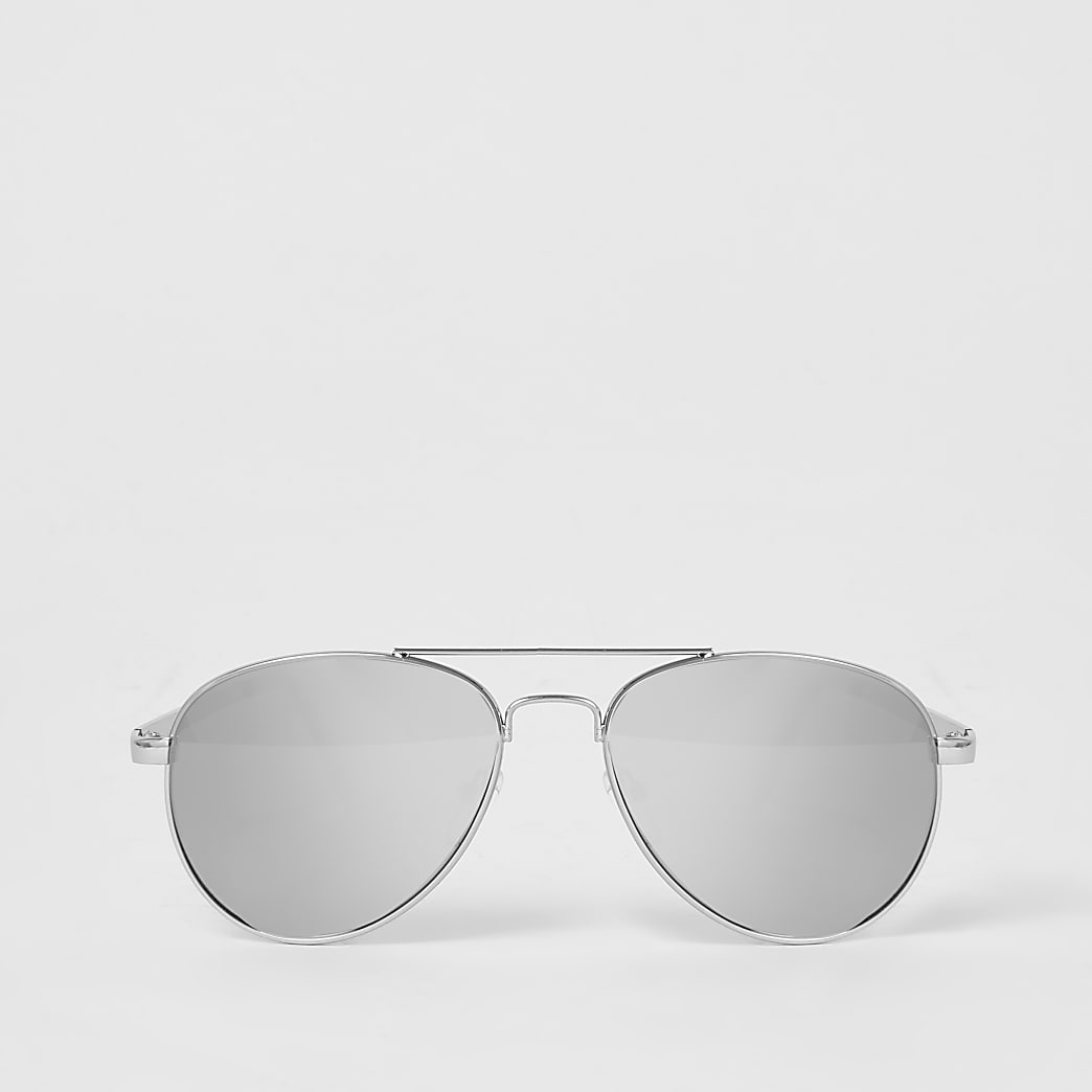 Girls silver mirrored aviator sunglasses