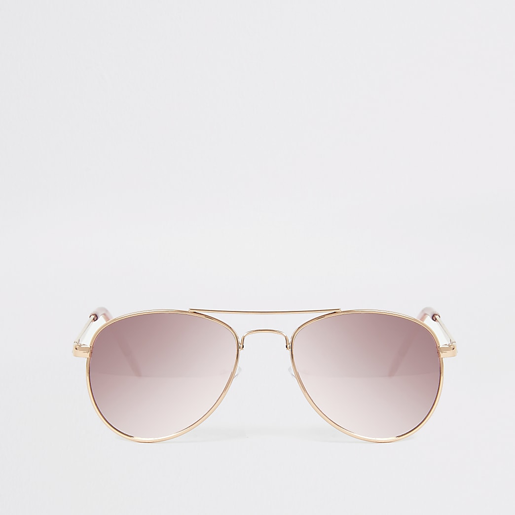 Girls pink mirrored aviator sunglasses