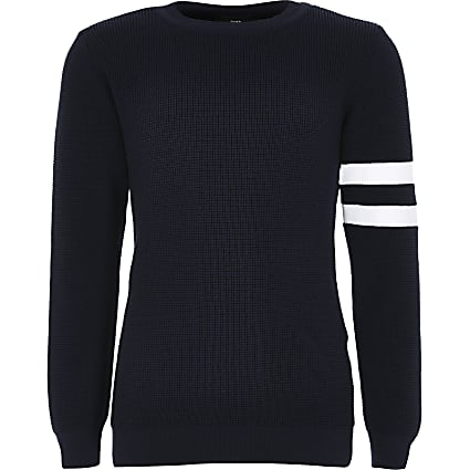 Boys navy stripe sleeve knitted jumper
