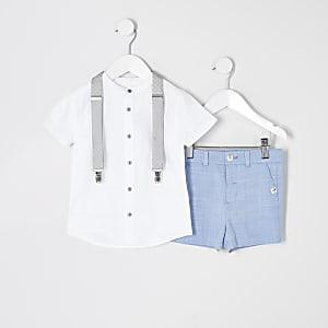Mini - Blauwe kostuum set met overhemd zonder kraag voor jongens