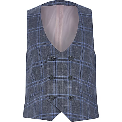 Boys blue check double breasted waistcoat