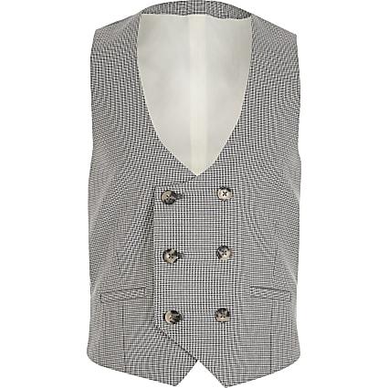 Boys grey check double breasted waistcoat