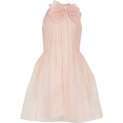 Girls pink organza bow neck prom dress