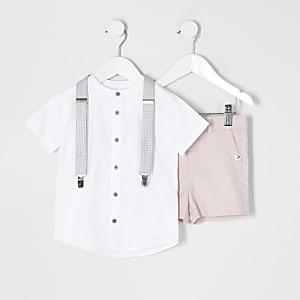 Mini - Roze kostuum set met overhemd zonder kraag voor jongens