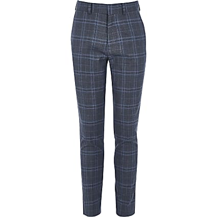 Boys blue check slim fit suit trousers