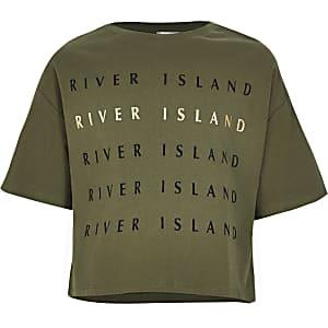 Kaki croppedT-shirt met RI folieprint voor meisjes