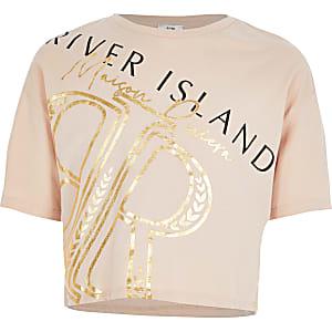 Beiges, kurzes T-Shirt mit RI-Print für Mädchen