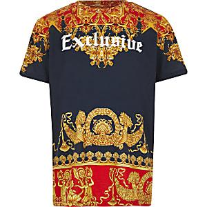 Marineblauw T-shirt met barokprint en 'Exclusive'-tekst voor jongens