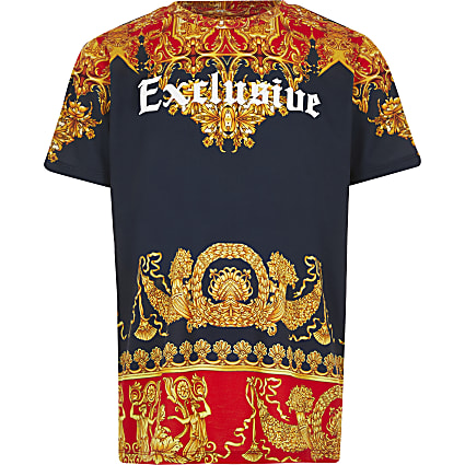 Boys navy baroque 'Exclusive' print T-shirt