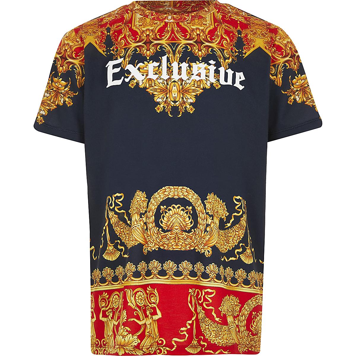 Boys navy baroque 'Exclusive' print T-shirt